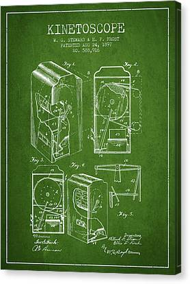1897 Kinetoscope Patent - Green Canvas Print by Aged Pixel
