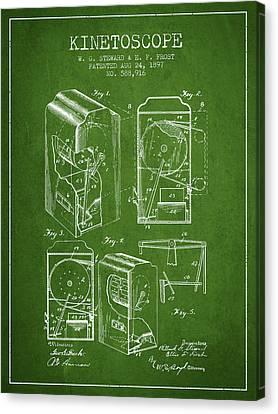 1897 Kinetoscope Patent - Green Canvas Print