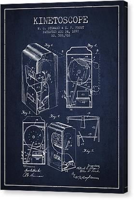 1897 Kinetoscope Patent - Navy Blue Canvas Print by Aged Pixel
