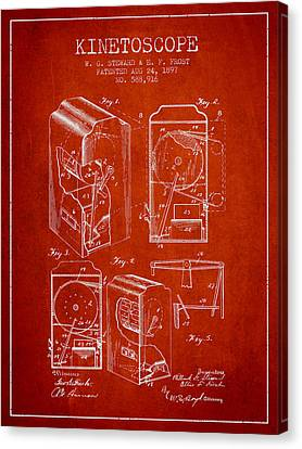 1897 Kinetoscope Patent - Red Canvas Print by Aged Pixel