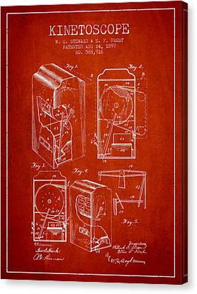 1897 Kinetoscope Patent - Red Canvas Print