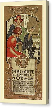 Lamp Post Canvas Print - 1898 Centenary Volta Battery  by Aapshop