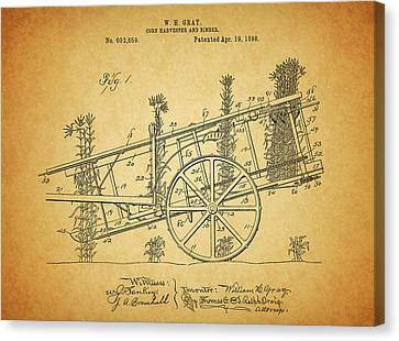 1898 Corn Harvester Patent Canvas Print