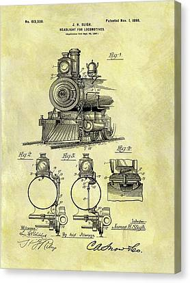 1898 Locomotive Patent Canvas Print by Dan Sproul