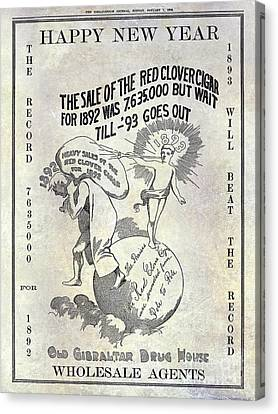 1898 Red Clover Cigars Advertisment Canvas Print by Jon Neidert