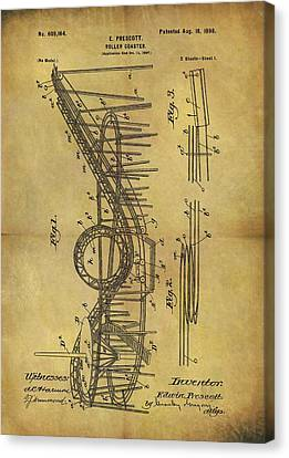 1898 Roller Coaster Patent Canvas Print by Dan Sproul