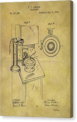 1898 Telephone Patent Canvas Print by Dan Sproul