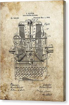 Remington Canvas Print - 1898 Typewriter Patent by Dan Sproul