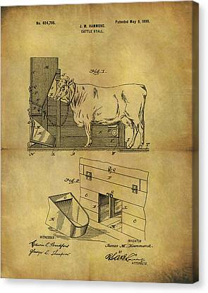 Hamburger Canvas Print - 1899 Cattle Stall Patent by Dan Sproul