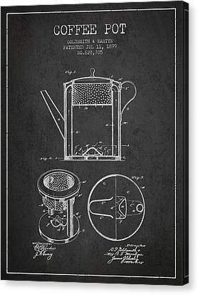 1899 Coffee Pot Patent - Charcoal Canvas Print by Aged Pixel