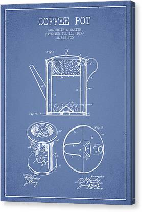 Drawing Of Lovers Canvas Print - 1899 Coffee Pot Patent -  Light Blue by Aged Pixel