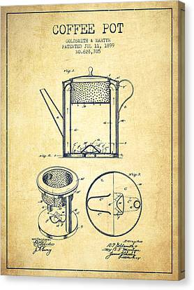 1899 Coffee Pot Patent - Vintage Canvas Print
