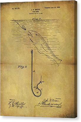 1899 Fish Hook Patent Canvas Print by Dan Sproul
