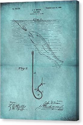 1899 Fishing Hook Patent Blue Canvas Print by Dan Sproul