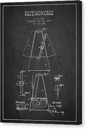 Celebrities Canvas Print - 1899 Metronome Patent - Charcoal by Aged Pixel