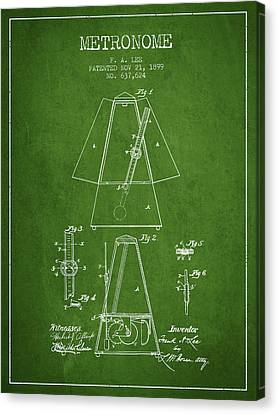 Celebrities Canvas Print - 1899 Metronome Patent - Green by Aged Pixel