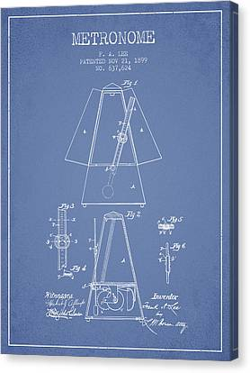 Celebrities Canvas Print - 1899 Metronome Patent - Light Blue by Aged Pixel