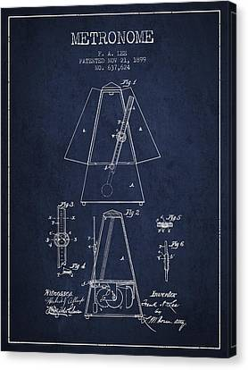 Celebrities Canvas Print - 1899 Metronome Patent - Navy Blue by Aged Pixel