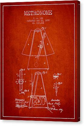 Celebrities Canvas Print - 1899 Metronome Patent - Red by Aged Pixel