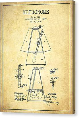 Celebrities Canvas Print - 1899 Metronome Patent - Vintage by Aged Pixel