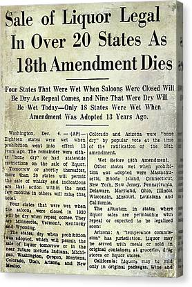 18th Amendment Article Canvas Print