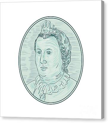 18th Century European Empress Bust Oval Drawing Canvas Print