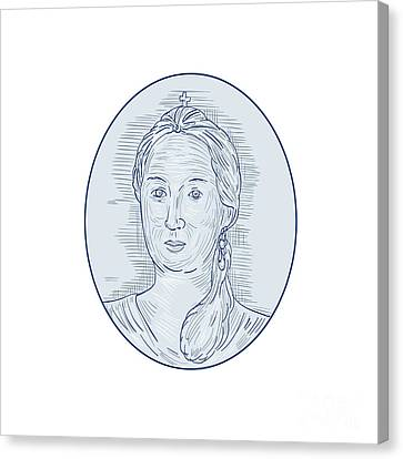 18th Century Russian Empress Bust Oval Drawing Canvas Print