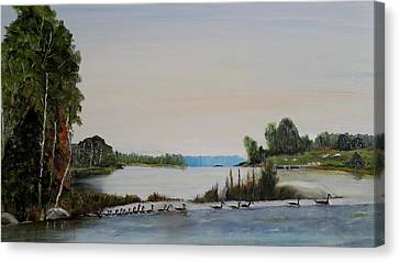 Canvas Print featuring the painting 19 Geese by Marilyn  McNish