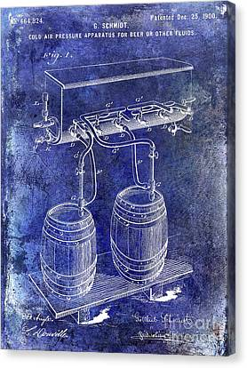 Stein Canvas Print - 1900 Draft Beer Patent Blue by Jon Neidert