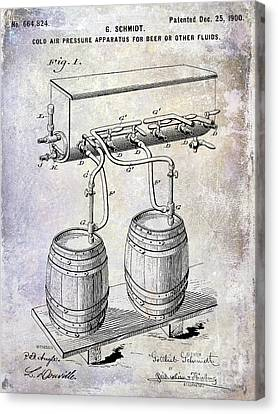 Stein Canvas Print - 1900 Draft Beer Patent by Jon Neidert