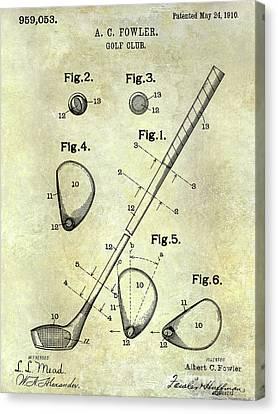 Scoring Canvas Print - 1910 Golf Club Patent by Jon Neidert