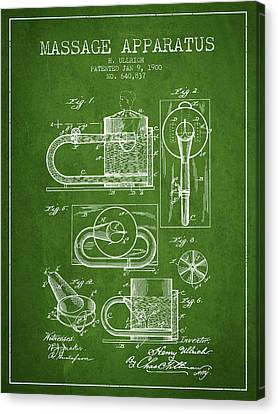 1900 Massage Apparatus Patent - Green Canvas Print by Aged Pixel