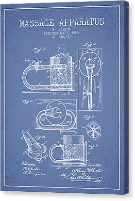 1900 Massage Apparatus Patent - Light Blue Canvas Print by Aged Pixel