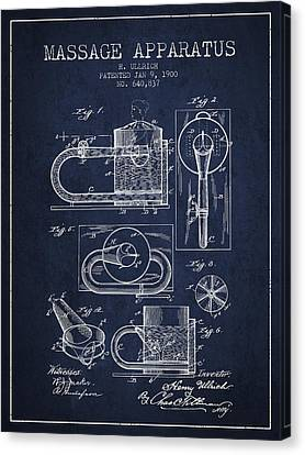 1900 Massage Apparatus Patent - Navy Blue Canvas Print by Aged Pixel