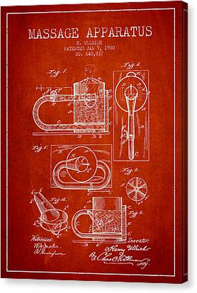1900 Massage Apparatus Patent - Red Canvas Print by Aged Pixel