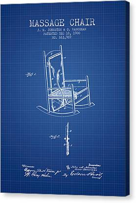 1900 Massage Chair Patent - Blueprint Canvas Print