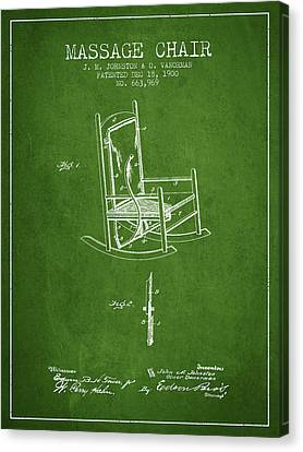 1900 Massage Chair Patent - Green Canvas Print