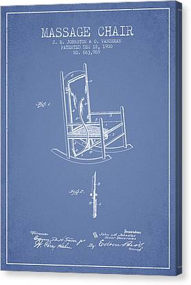 1900 Massage Chair Patent - Light Blue Canvas Print