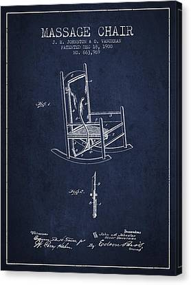1900 Massage Chair Patent - Navy Blue Canvas Print