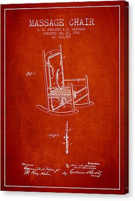 1900 Massage Chair Patent - Red Canvas Print