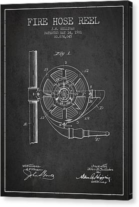Reel Canvas Print - 1901 Fire Hose Reel Patent - Charcoal by Aged Pixel