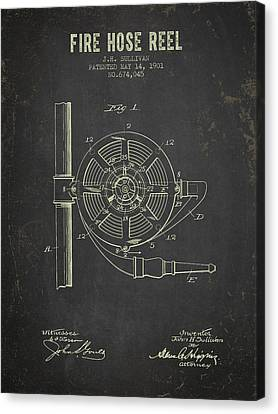 1901 Fire Hose Reel Patent- Dark Grunge Canvas Print by Aged Pixel