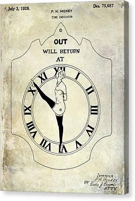 1928 Time Indicator Patent  Canvas Print by Jon Neidert