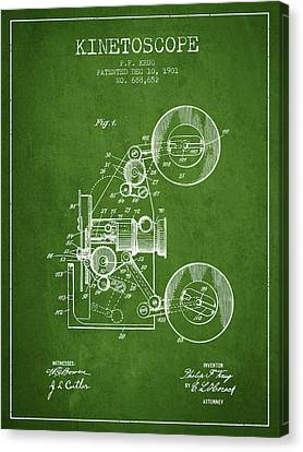 1901 Kinetoscope Patent - Green Canvas Print by Aged Pixel