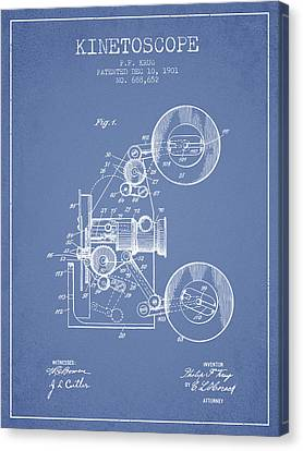 1901 Kinetoscope Patent - Light Blue Canvas Print by Aged Pixel
