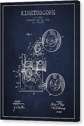 1901 Kinetoscope Patent - Navy Blue Canvas Print by Aged Pixel