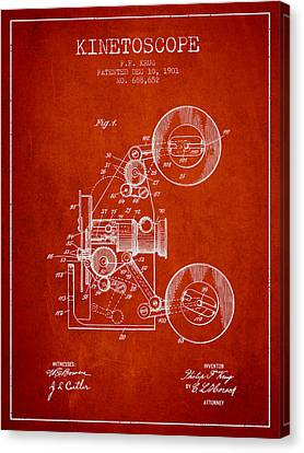 1901 Kinetoscope Patent - Red Canvas Print by Aged Pixel
