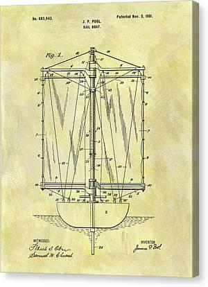 1901 Sailboat Patent Canvas Print