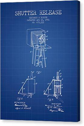1901 Shutter Release Patent - Blueprint Canvas Print by Aged Pixel