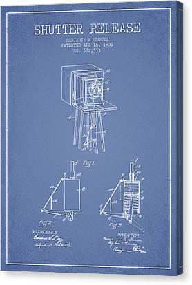 1901 Shutter Release Patent - Light Blue Canvas Print by Aged Pixel